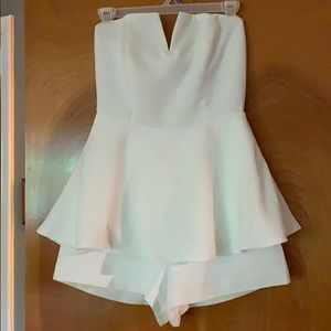 White romper with skirt overlay